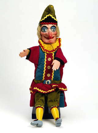 Photo of Punch puppet, Fred Tickner, about 1975. Museum no. S.554-2001. © Victoria and Albert Museum, London