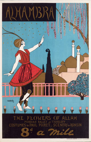 Photo of Poster for the revue 'Eightpence a Mile' Alhambra Theatre, Designed by G.K. Benda, 1913, London. Museum no. S.772-1982. © Victoria and Albert Museum, London