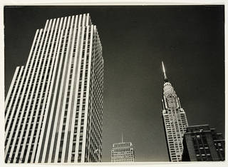 Photo of Ilse Bing (Rockefeller Center or Daily Mirror and Chrysler Building tops), 1936. Museum no. E.3029-2004. © Victoria and Albert Museum, London/Estate of Ilse Bing, courtesy Michael Mattis