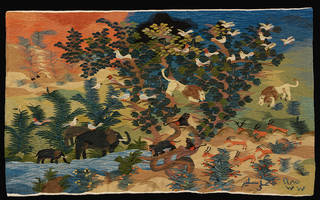 Photo of 'Animals by the Watering Hole', tapestry, Ali Salim, 1985. Museum no. ME.1-2008. © Victoria and Albert Museum, London