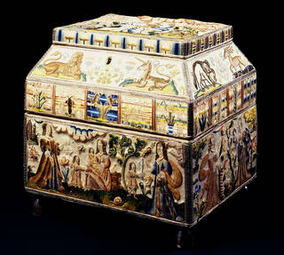 Photo of Martha Edlin's embroidered casket, 1671, England. Museum no. T.432-1990. © Victoria and Albert Museum, London