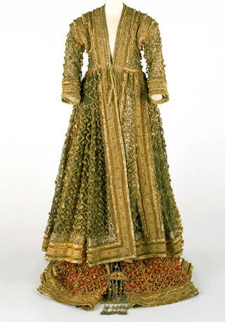 Photo of Dress, trousers and shawl reputedly belonging to the Queen of Avadh, 19th century, Lucknow, India. Museum nos. 0644(IS), 0645(IS) and 0646(IS). © Victoria and Albert Museum, London