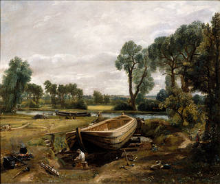 Photo of Boat building near Flatford Mill, John Constable (1776 - 1837), about 1815, England. Museum no. CIS.  FA.3. © Victoria and Albert Museum, London
