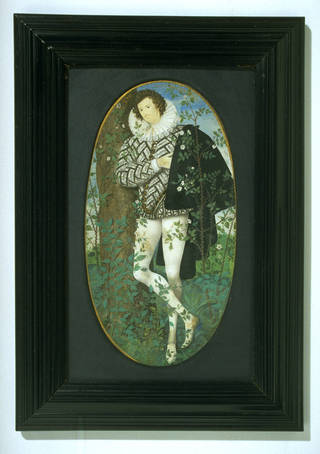 Photo of Portrait miniature of A Young Man Leaning Against a Tree Amongst Roses, possibly Robert Deveraux, 2nd Earl of Essex (1566 – 1601), Nicholas Hilliard, 1585-95. Museum no. P.163-1910. © Victoria and Albert Museum, London