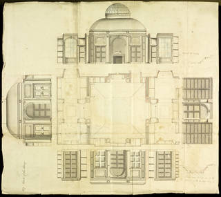 Photo of Detail and working drawings for rebuilding and enlargement of 'The Library' East India House, London, Richard Jupp (ca.1728 – 1799), 1797 – 98, London. Museum no. D.1672-1898. © Victoria and Albert Museum, London