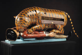 Photo of 'Tipu's Tiger', a carved and lacquered wooden semi-automaton, Mysore, India, about 1793. Museum no 2545 (IS). © Victoria and Albert Museum, London