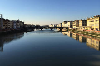 The view looking north-westwards down the Arno from Santa Trinita, photo by Mark Evans, 2016. © Victoria and Albert Museum, London
