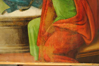 Detail of the bottom right of Pentecost by Sandro Botticelli and workshop, photo by Catherine Nunn, 2016. © Victoria and Albert Museum, London