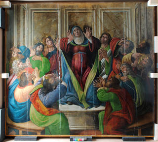Pentecost by Sandro Botticelli and workshop during conservation treatment at the V&A, photo by Catherine Nunn, 2016. © Victoria and Albert Museum, London