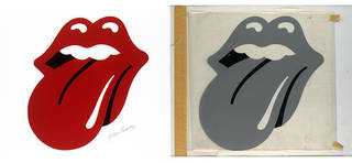 (Left) Full colour digital proof for the Rolling Stones 'Tongue' logo by Jon Pasche, 1970. Museum no. S.6121-2009, © Victoria & Albert Museum, London. (Right) Art work for the Rolling Stones 'Tongue' logo by Jon Pasche, 1970. Museum no. S.6120-2009, © Victoria & Albert Museum, London