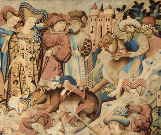 The Devonshire Hunting Tapestry: Otter and Swan Hunt (detail), 1430-1440, probably made in Arras, France. Museum no. T.203-1957. © Victoria and Albert Museum, London