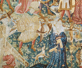 The Devonshire Hunting Tapestry: Falconry, 1430-1440 (detail), probably made in Arras, France. Museum no. T.202-1957. © Victoria and Albert Museum, London