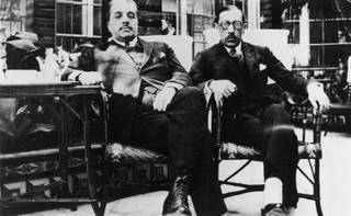 Serge Diaghilev (left) and Igor Stravinsky (right), black and white photograph, Spain, 1921. © Victoria & Albert Museum, London