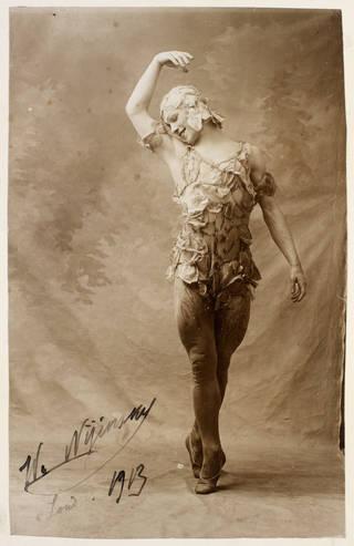 Signed photograph of Vaslav Nijinsky in Le Spectre de la Rose, by Bert, 1913. Valentine Gross Archive, © Victoria & Albert Museum, London
