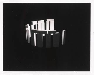 Untitled, photograph by David DiFrancesco, 1979, polaroid of a 3D flying computer graphic model of Stonehenge. Museum no. E.226-2012. © Victoria and Albert Museum, London/David DiFrancesco