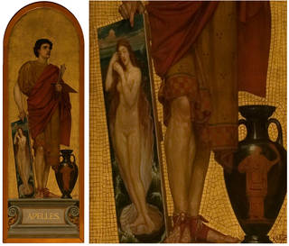 (Left) Mosaic of Apelles of Cos (1860s) by Edward Poynter on display in the V&A, 2016. © Victoria and Albert Museum, London (Right) Detail of the mosaic of Apelles of Cos, by Edward Poynter, 2016. © Victoria and Albert Museum, London