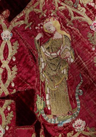 Photo of The Butler Bowdon Cope (detail), maker unknown, 1330 – 50, woven in Italy, embroidered in England. Museum no. T.36-1955. © Victoria and Albert Museum, London