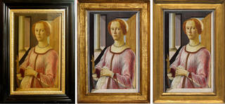 Portrait of a Lady known as Smeralda Bandinelli in three different frames, Sandro Botticelli, About 1470-5. © Victoria and Albert Museum, London