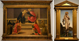 (Left) The Coronation of the Virgin, with St Anthony Abbot, St John the Baptist, St Julian and St Francis, workshop of Sandro Botticelli, about 1475-1500.  © The Metropolitan Museum of Art, The Jules Bache Collection, 1949. (Right) Cadmus and Harmonia, Evelyn de Morgan, 1877. Courtesy of the De Morgan Foundation