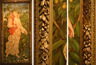 (Left) Flora, Evelyn de Morgan, 1894. Courtesy of the De Morgan Foundation. (Middle and Right) Flora (details), Evelyn de Morgan, 1894. Courtesy of the De Morgan Foundation