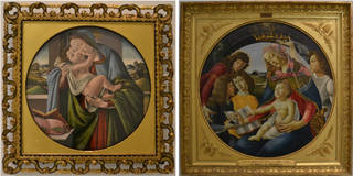 (Left) The Virgin and Child, workshop of Sandro Botticelli, 1490. Courtesy of the Syndics of the Fitzwilliam Museum. (Right) Virgin and Child with four angels, workshop of Sandro Botticelli, 1485. © Musée du Louvre, on loan to musée Fabre, Montpellier