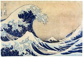 Photo of 'The Great Wave', print, Katsushika Hokusai, 1858, Japan. Museum no. E. 4823-1916. © Victoria and Albert Museum, London