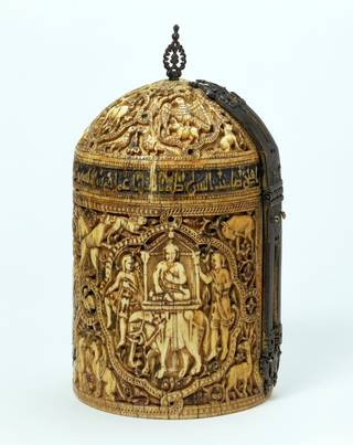 Photo of Ivory pyxis, unknown, 969-970 AD, Spain. museum no. 368-1880. © Victoria and Albert Museum, London