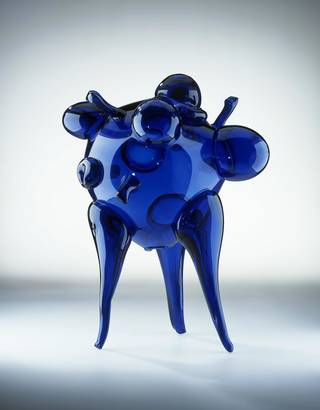 Photo of Blue glass form, René Roubicek, 1959, Czechoslovakia. Museum no. C.21-1998. © Victoria and Albert Museum, London