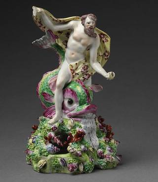 'Neptune astride a dolphin' (figure), the Bow porcelain factory, about 1760, England. Museum no. C.42-1944. © Victoria and Albert Museum, London