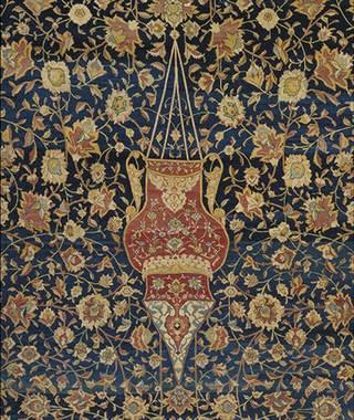 The Ardabil Carpet (detail showing smaller lamp), unknown, 1539-1540, Iran. Museum no. 272-1893. © Victoria and Albert Museum, London