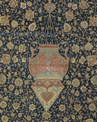 The Ardabil Carpet (detail showing larger lamp), unknown, 1539-1540, Iran. Museum no. 272-1893. © Victoria and Albert Museum, London