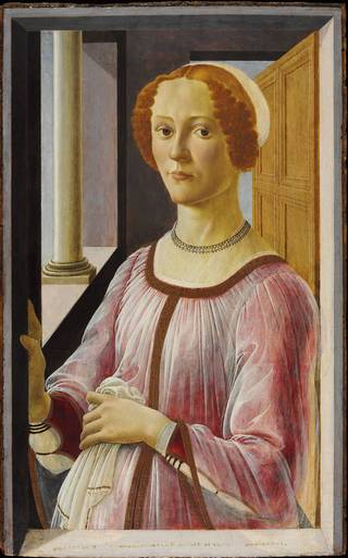 Photo of 'Portrait of a Lady known as Smeralda Bandinell', by Sandro Botticelli, 1470-1480, Italy. Museum no. CAI.100. © Victoria and Albert Museum, London
