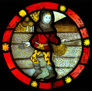 Photo of 'October; The Labours of the Months' (roundel), unknown, about 1480, England. Museum no. C.134-1931. © Victoria and Albert Museum, London