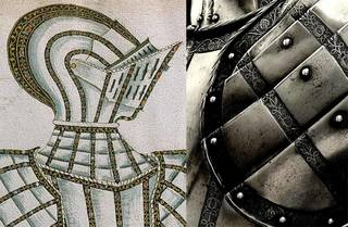 Left to right: 'Sr Harry Lea Mr of ye Armore', armour for Sir Harry (Henry) Lee, Master of the Armoury (detail), 1587. Museum no. D.610&A-1894. © Victoria and Albert Museum, London; Etched bands on the armour of Sir Henry Lee, Greenwich, 1587. © The Worshipful Company of Armourers and Brasiers, London