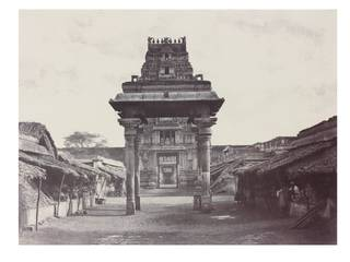Photo of A small four pillared Mundapum inside the Second Gopuram, photograph by Linnaeus Tripe, 1858, Srirangam, India. Museum no. IS.45:4-1889. © Victoria and Albert Museum, London