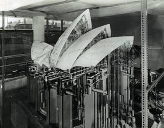 Model of Sydney Opera House roof undergoing stress distribution testing at Southampton University, 1960. © Henk Snoek/Courtesy Arup