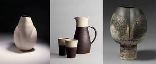 Left to right: Pot, Hans Coper, 1968. Museum no. CIRC.204-1969; Jug & beaker, Lucie Rie and Hans Coper, about 1950–55. Museum no. C.57-1982; Pot, Hans Coper, 1968, Museum no. CIRC.767-1969. © Victoria and Albert Museum, London