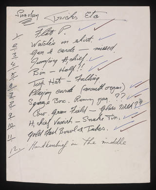 Tommy Cooper's hand-written running order for a performance featuring comedy magic tricks. © Victoria and Albert Museum, London/The Tommy Cooper Estate