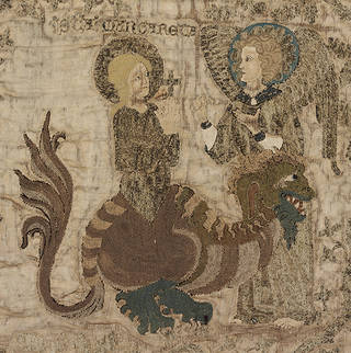 The Steeple Aston Cope (detail showing St Margaret and the dragon), 1330 – 1340, England. Loan: Steeple Aston.2. © Victoria and Albert Museum, London