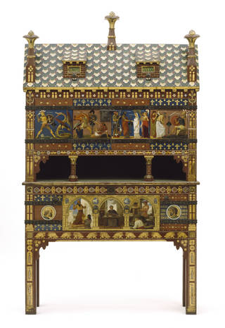Photo of The Yatman Cabinet, designed by William Burges, made by Harland & Fisher, 1858, England. Museum no. CIRC.217-1961. © Victoria and Albert Museum, London