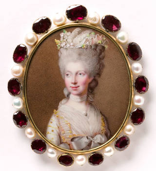 Photo of Enamel miniature of Queen Charlotte, Johann Heinrich Hurter, 1781, England. Museum no. Loan:Gilbert.242-2008. © The Rosalinde and Arthur Gilbert Collection on loan to the Victoria and Albert Museum, London