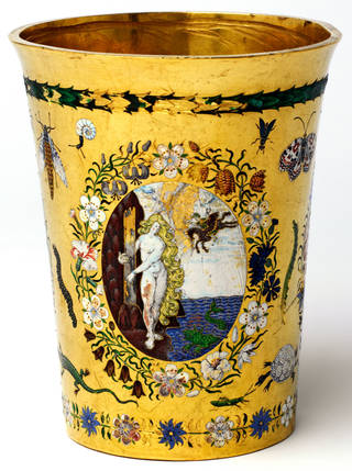 Photo of Gold and enamel beaker, 1600 – 25, Northern Europe. Museum no. Loan:Gilbert.28-2008. © The Rosalinde and Arthur Gilbert Collection on loan to the Victoria and Albert Museum, London