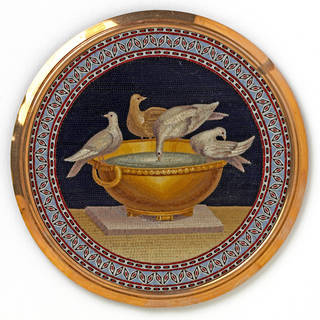 Photo of Micromosaic plaque with The Doves of Pliny, Giacomo Raffaelli, 1801, Rome, Italy. Museum no. Loan:Gilbert.194:1-2008. © The Rosalinde and Arthur Gilbert Collection on loan to the Victoria and Albert Museum, London