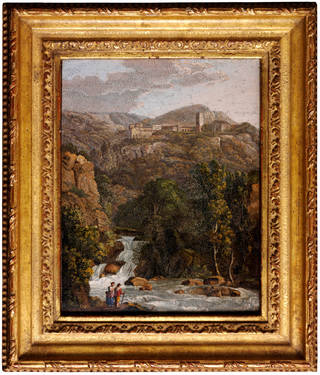 Photo of Micromosaic view of Tivoli near Rome, Giovanni Morelli, about 1825, Rome, Italy. Museum no. Loan:Gilbert.226-2008. © The Rosalinde and Arthur Gilbert Collection on loan to the Victoria and Albert Museum, London