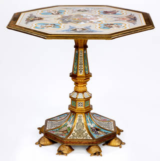 Photo of Octagonal tabletop with a micromosaic depicting Apollo, 1861 – 90, probably Rome. Loan:Gilbert.120:1-2008. © The Rosalinde and Arthur Gilbert Collection on loan to the Victoria and Albert Museum, London