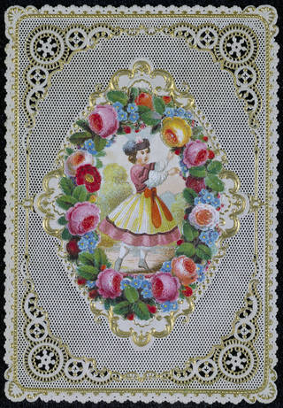 Valentines card with paper lace, unknown, mid 19th century, possibly England, USA or France. Museum no. E.2236-1953. © Victoria and Albert Museum, London
