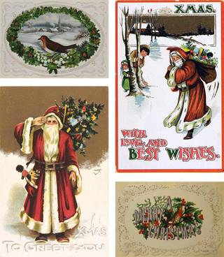 Christmas cards, late 19th century, England. Museum numbers (clockwise from top): E.1996-1953/E.378-1971/ E.1971-1953/E.380-1971. © Victoria and Albert Museum, London