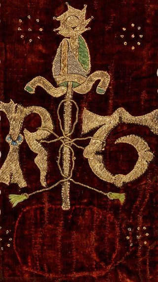 The Thornton Chasuble (detail showing Robert Thornton's rebus: the letters RT, staff and 'ghost' of a barrel design, now lost), 1510 – 1533. Museum no. 697-1902. © Victoria and Albert Museum, London