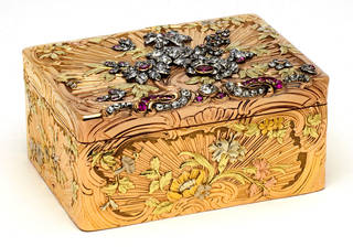 Gold box with diamonds and rubies, marked 1755 – 6 by Jean Ducrollay, Paris, France. Museum no. Loan:Gilbert.328-2008. © The Rosalinde and Arthur Gilbert Collection on loan to the Victoria and Albert Museum, London