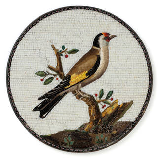 Mosaic plaque with gold finch, attributed to Giacomo Raffaelli, 1775 – 1800, Rome, Italy. Museum no. Loan:Gilbert.203:1-2008. © The Rosalinde and Arthur Gilbert Collection on loan to the Victoria and Albert Museum, London